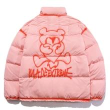 Pullover LACIBLE Padded-Jacket Harajuku Warm Men Streetwear Bear-Printed Winter Cotton