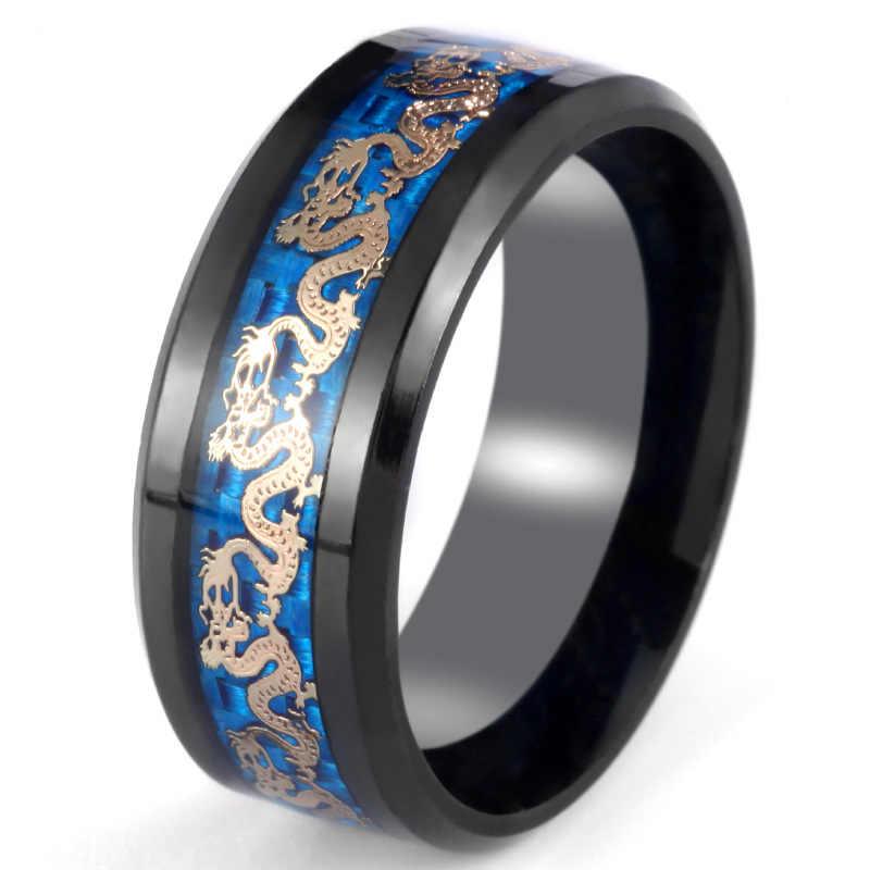 8mm אופנתי גברים נירוסטה טבעת קלאסי פחמן סיבי הדרקון שיבוץ טבעת לגברים יום נישואים תכשיטי חתונה תכשיטים