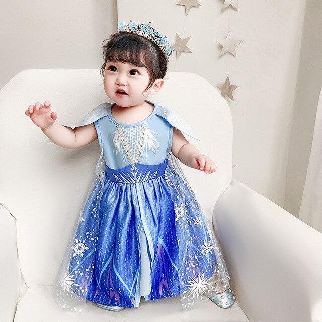 Di trasporto del nuovo Film Congelati 2 Anna Elsa Partito delle ragazze Della Principessa del partito del vestito little girls veste il vestito di natale per le ragazze del bambino