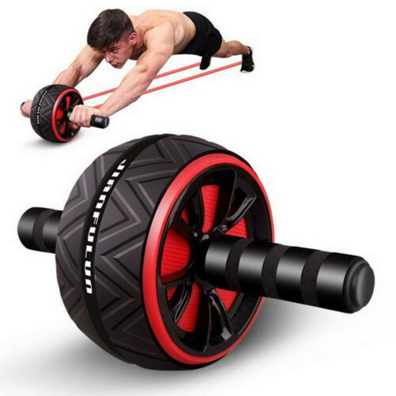 Silent TPR Abdominal Wheel Roller Trainer Fitness Equipment Gym Home Exercise Body Building Ab Roller Belly Core Trainer