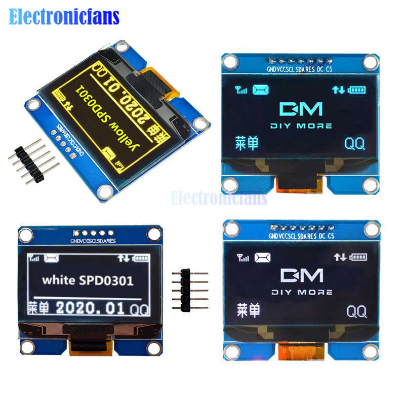 1.54 inch PM 5PIN / 7PIN White Blue Yellow OLED Module IIC I2C Interface 128x64 Display Screen SSD1309 SPD0301 Driver IC 3.3-5V