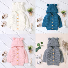 2020 New Kid Baby Boy Girl Coat Sweater Hooded Knitted Warm Jacket