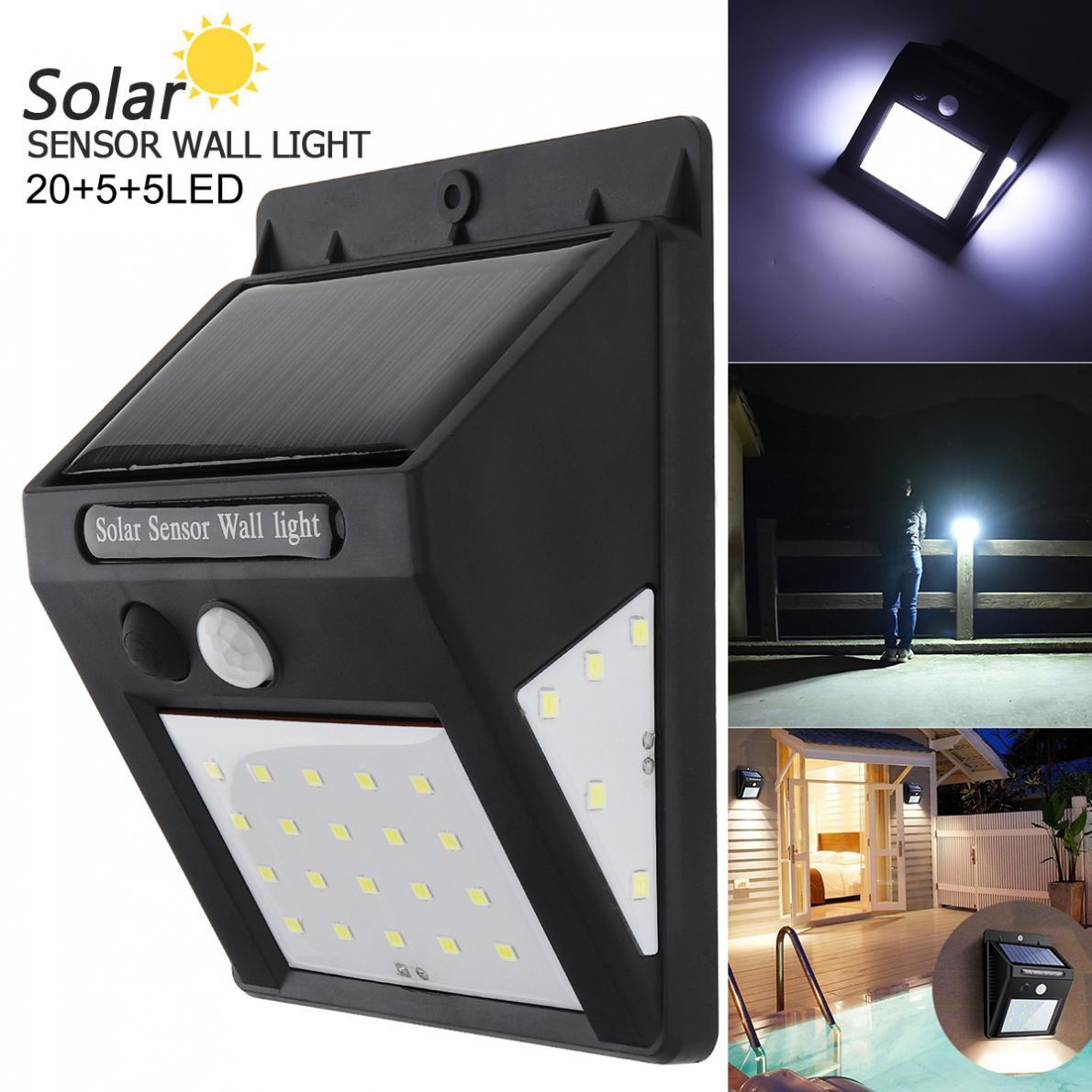 20 LED Lampe Solaire Lumière Détecteur Mouvement Jardin Extérieur Applique Mural