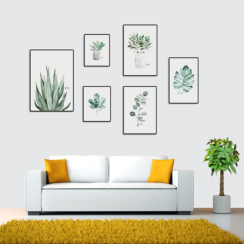 Nordic Simple Small Fresh Green Plant Art Painting Living Room Background Wall Decoration Hanging Picture Frameless