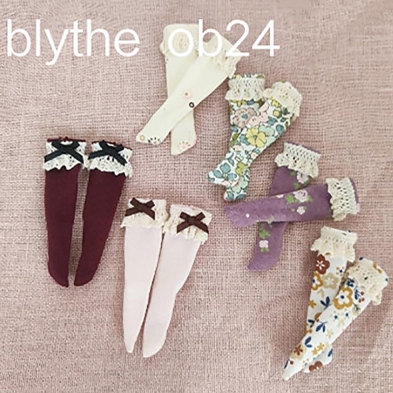 Blyth кукольные одежда Мори, носки с цветочным рисунком и кружевными деталями Барби Высокие гольфы до колена для озон, Kurhn,OB/Momoko, Барби Blyth 1/6 акс...