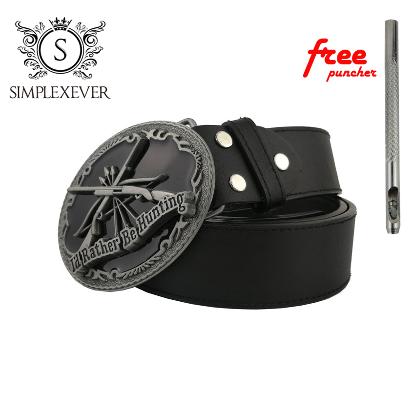 New Silver Hunting Belt Buckle with Leather Belt Oval Metal Cowboy Belt Buckles Man Jeans Jewelry Accessories
