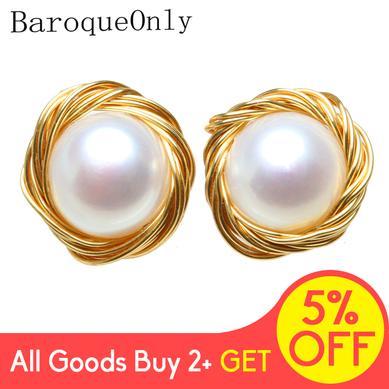 Hand Made NEW Design White Classic Gold String Flat Round Natural Freshwater Cultured Pearls Stud Earrings For Girl Gift Hot