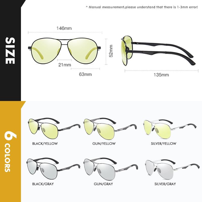 2020 Aviation Driving Photochromic Sunglasses Men Polarized Glasses Women Day Night Vision Driver Eyewear UV400 zonnebril heren 5