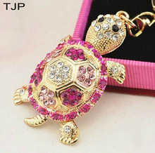 TJP 4 Colors Rhinestone Metal Tortoise Keychains Accessories Car Keyring Lovers Fashion Turtle Key Rings