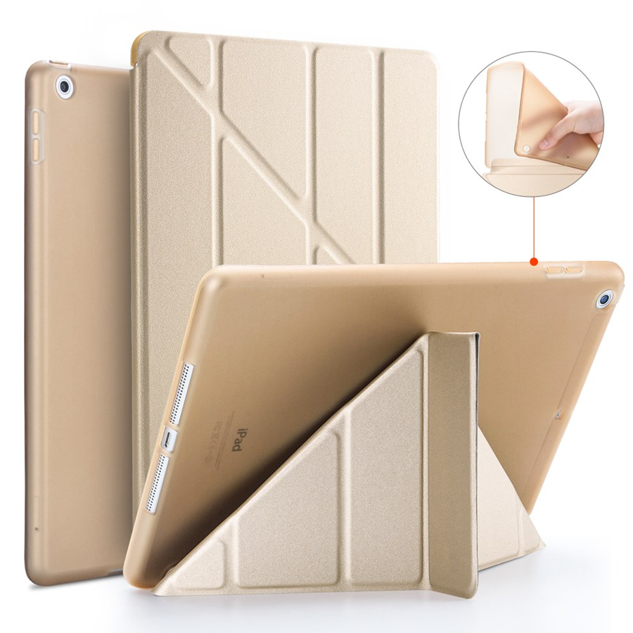 gold Blue Soft Silicon PU Leather Case For Apple iPad 10 2 2020 Smart Stand Cover For iPad