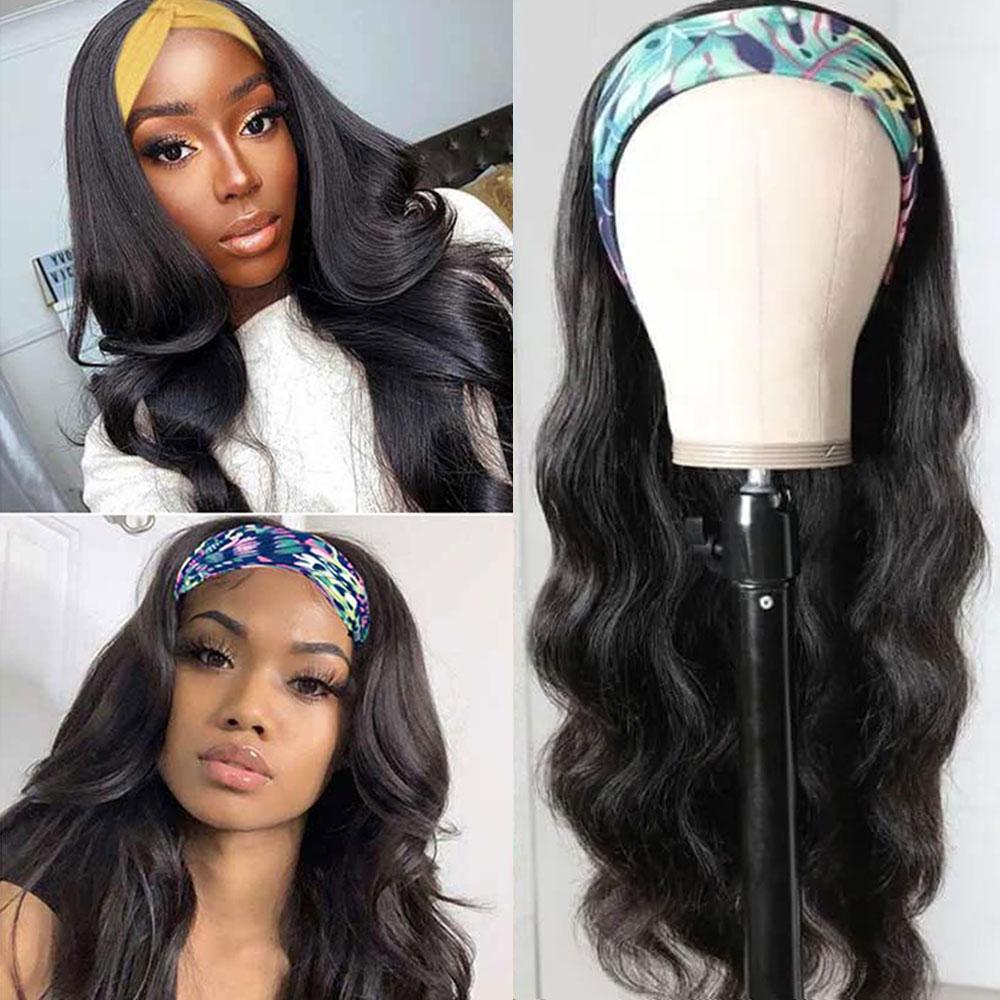 Body Wave Headband Wig   Hair 150 Density  Wigs  Fashion Style Glueless Scarf Wig 2
