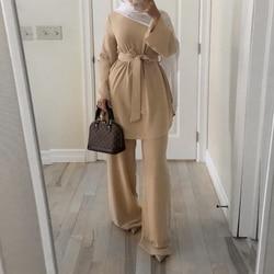 Рамадан ИД Мубарак Дубай абайя Турция мусульманский хиджаб платье комплект из двух частей Caftan кафтан ислам одежда Абая для женщин Ropa Mujer
