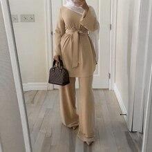 Eid Mubarak Kaftan dubaj Abaya turcja moda muzułmańska hidżab zestawy sukienek Islam odzież Abayas dla kobiet Musulman zespoły De Mode
