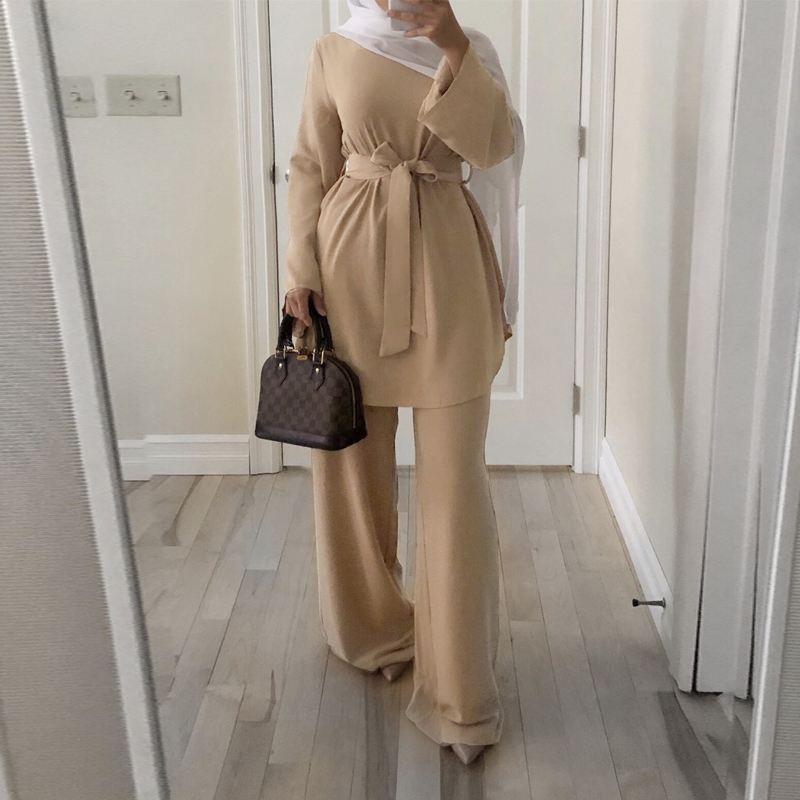 Ramadan Eid Mubarak Dubai Abaya Turkey Muslim Hijab Dress Set Two Piece Caftan Kaftan Islam Clothing Abayas For Women Ropa Mujer