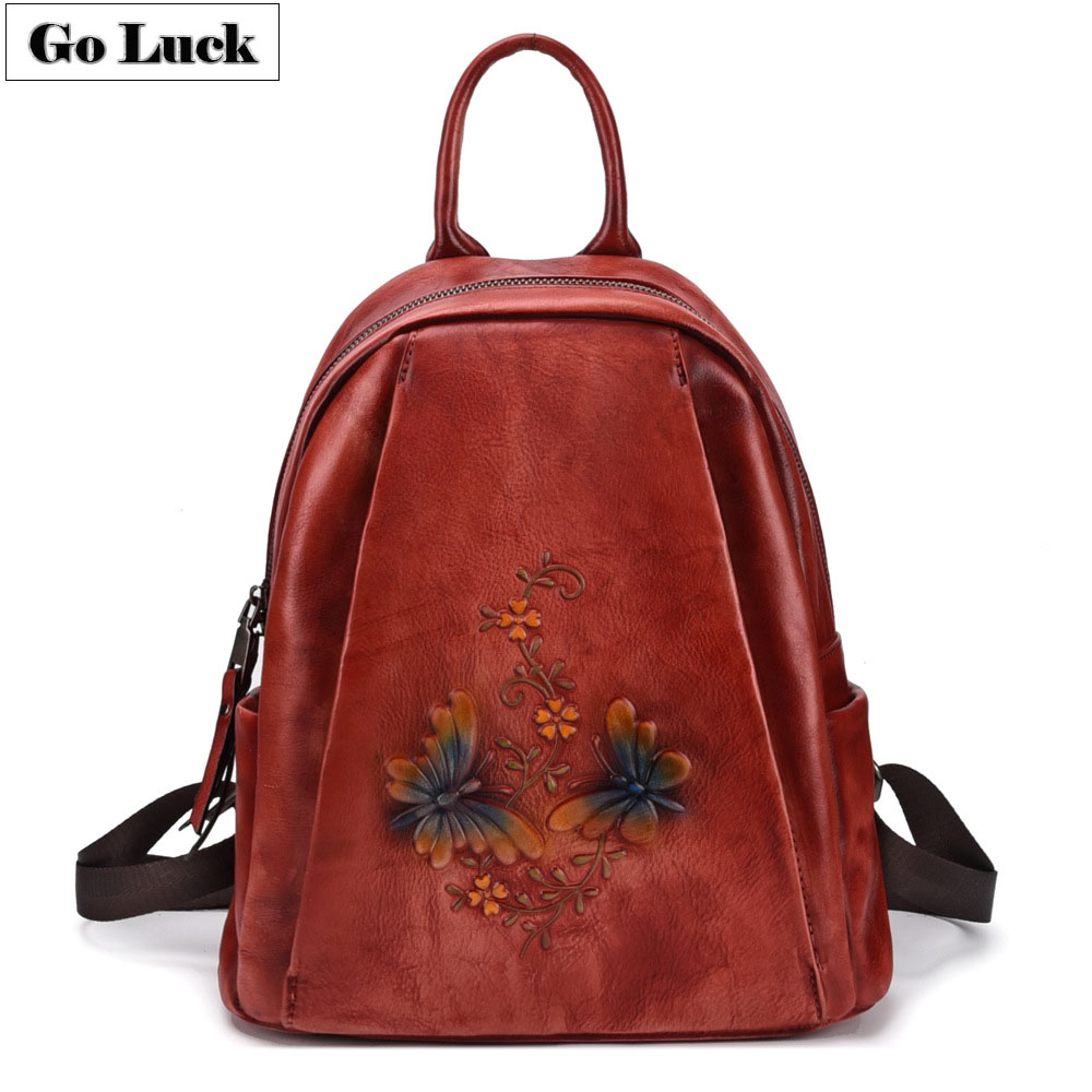 GO-LUCK Brand Women Casual Backpacks Vintage Genuine Cow Leather Women's Daily Back Pack Ladies Fashion Travel Backbag