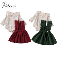 Г. Весенне-осенняя одежда для малышей комбинезон в горошек с длинными рукавами и оборками для маленьких девочек+ платье на бретелях, комплект одежды комплекты из 2 предметов