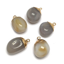 5Pcs Grey Agate Pendant-18x25mm Personality Natural Stone Pendant Necklace Beaded Charm Accessory Jewelry(China)