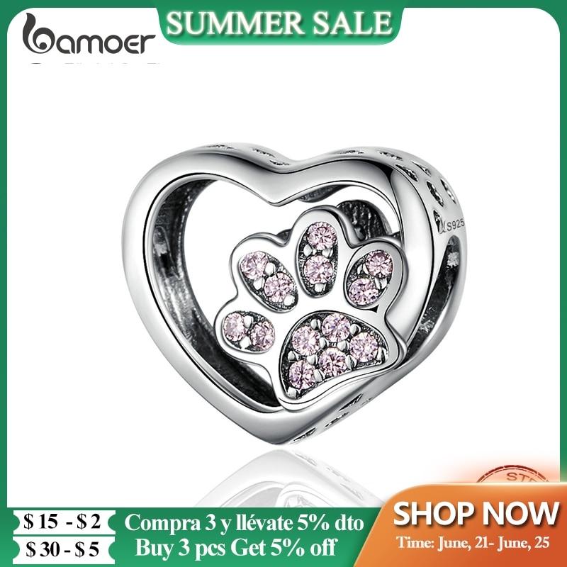 BAMOER Cat Love Heart-shape Charm 925 Sterling Silver Paw Footprints Heart Charms for Bangle Bracelet Fine Jewelry SCC1191