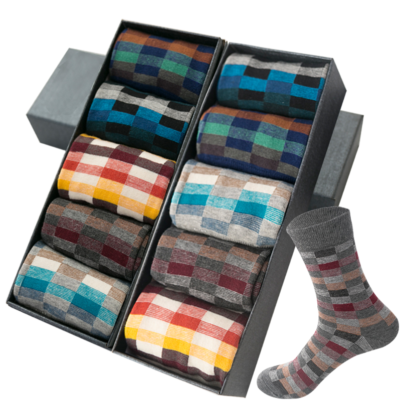 2020 Combed Cotton Colorful Business Men's Socks Cotton Korean Fashion Harajuku Men Dress Board Socks Style Geometric Check SOX