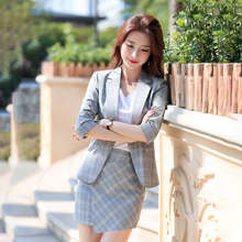 Plaid small suit jacket female 2019 spring and summer new Korean fashion seven-point sleeve suit jacket + blue plaid skirt suit(China)