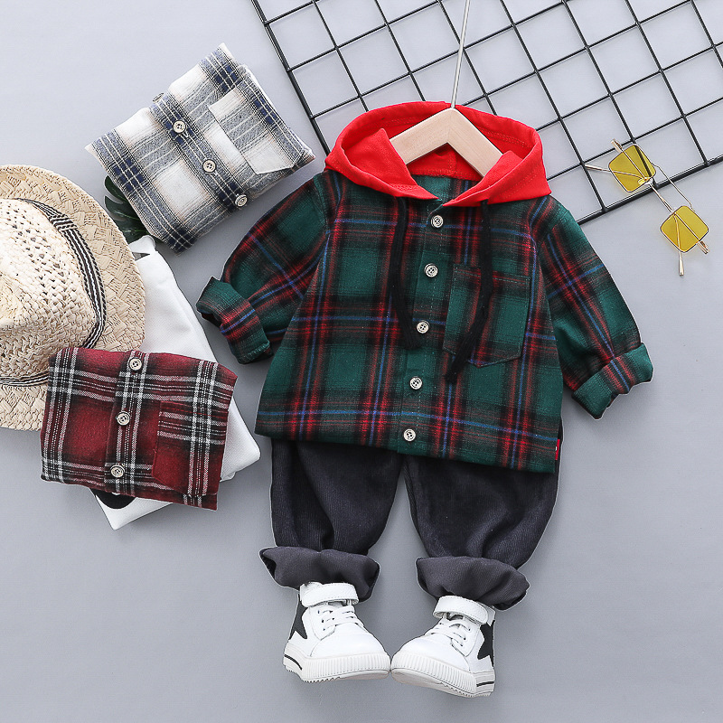 HYLKIDHUOSE 2019 Autumn Baby Boys Girls Clothes Suits Toddler Infant Clothing Sets Plaid Coats Pants Kids Child Casua Costume