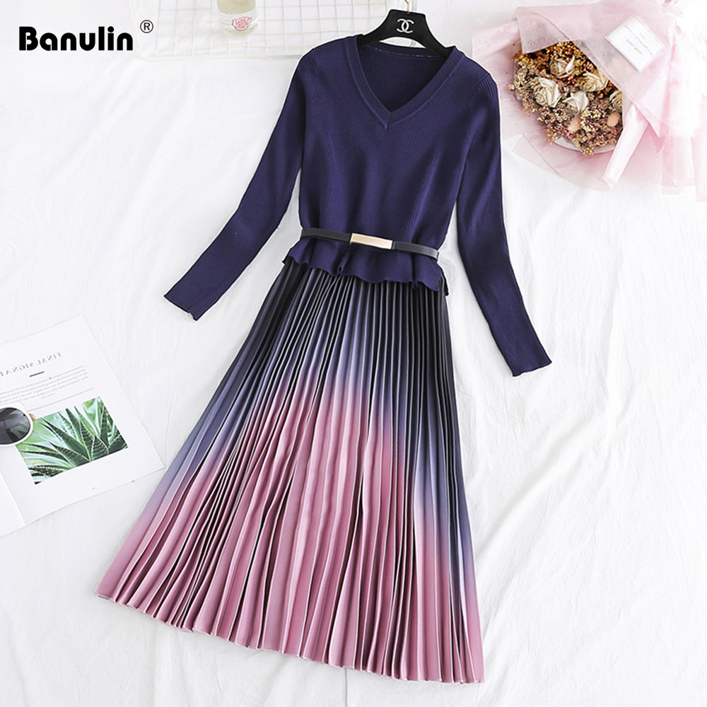 Autumn Winter Elegant Knitted Patchwork Gradient Pink Pleated Dress Women Long Sleeve Office One Piece Sweater Dress With Belt