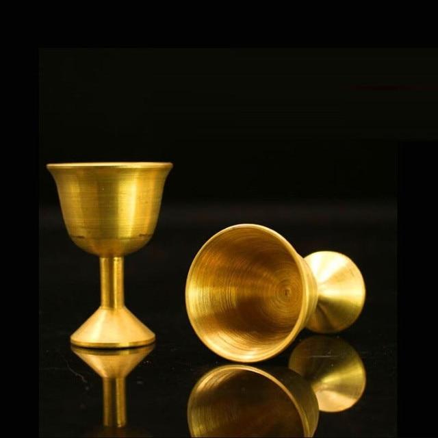 Verre à vin pour consacré vin gobelet Propitiate eau tasse en laiton blanc cuivre Articles bouddhistes essentiels pour autel de bouddha magique