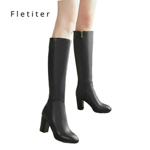 Image 1 - Womens Fashion Boots Knee High Slim Boots Solid Color Riding Boots Women Elegant Side Zip Comfortable Boots Plus size Shoes