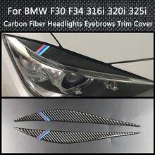 Carbon Fiber Decoration Headlight Eyebrows Eyelids Trim Cover For BMW F30 F34 316i 320i 325i 2013-2015 Car light Styling Stickes стоимость
