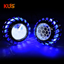 2.5inch Honeycomb Bi xenon hid Projector lens led day running white angel eyes H1 H4 H7 retrofit car assembly kit  DRL