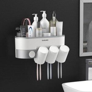 Image 2 - Estante de almacenamiento de artículos de tocador para baño, soporte para cepillo de dientes, dispensador automático de pasta de dientes con taza, juego de accesorios de montaje en pared