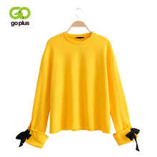 GOPLUS Womens Sweatshirt Lace Up Oversized Hoodies Streetwear Pink Yellow Pullovers Bluzy Damskie Sudaderas Para Mujer C9613