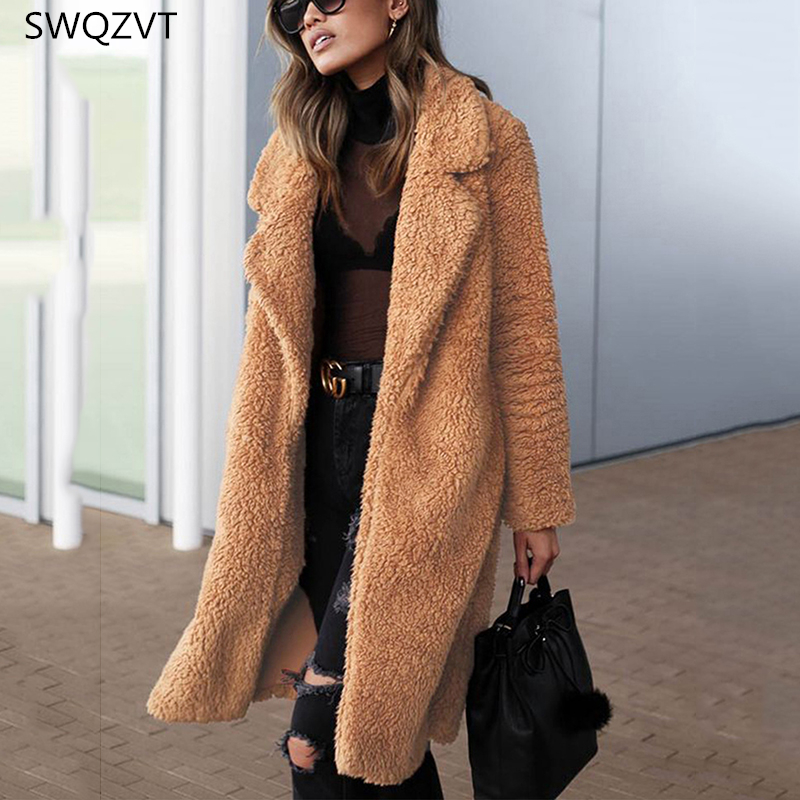 Women Outwear Coat Turn-Down-Collar Long-Sleeve Warm Casual Ladies Thick Fur Loose title=