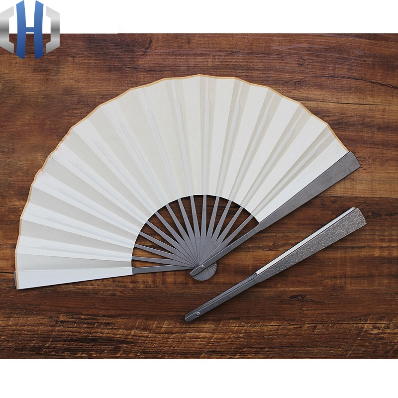 Titanium Alloy Folding Fan 10 Inch Thick EDC Tactical Attack Defense Fan Tai Chi Martial Arts Steel Bone Fan