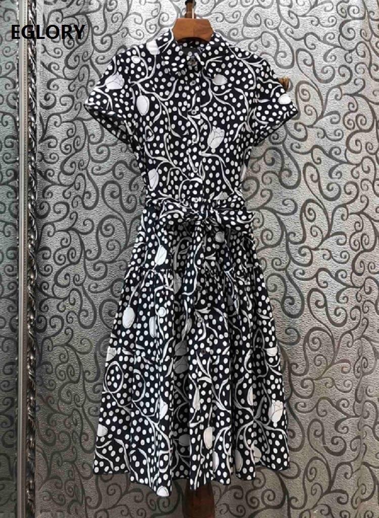 New 2020 Spring Summer Fashion Style Dress Women Turn-down Collar Polka Dot Floral Print Short Sleeve Casual Long Shirt Dress
