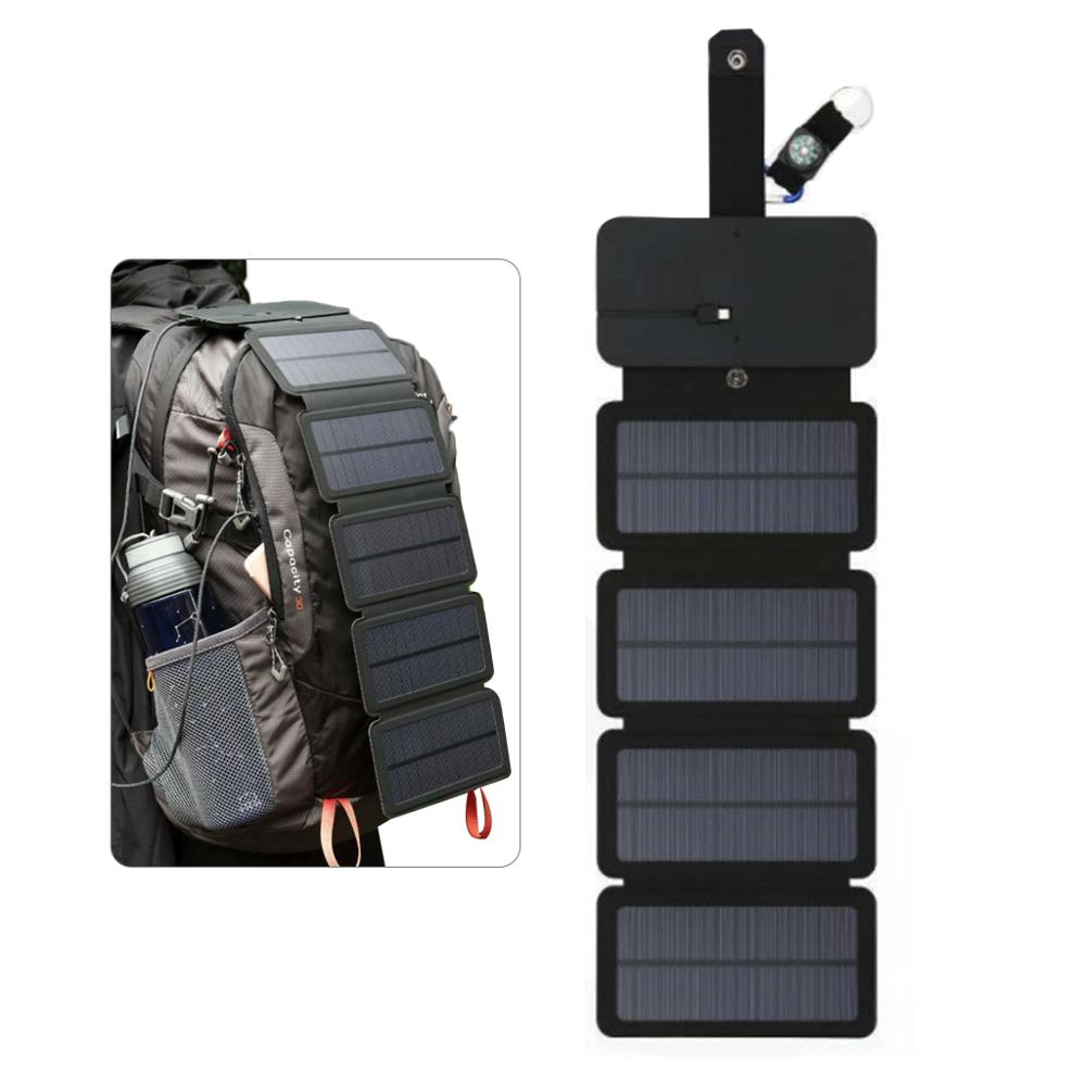 Folding <font><b>Solar</b></font> <font><b>Panel</b></font> <font><b>5V</b></font> 2A Portable <font><b>Solar</b></font> Charger USB Output Camping Hiking Travel <font><b>Solar</b></font> Power Phone Charger for Tablet Laptop image