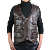 Men's Autumn Pu Leather Vest Multi Pockets Zippers V Neck Large Size Jackets Male Work Fishing Casual Outdoors Waistcoats D650