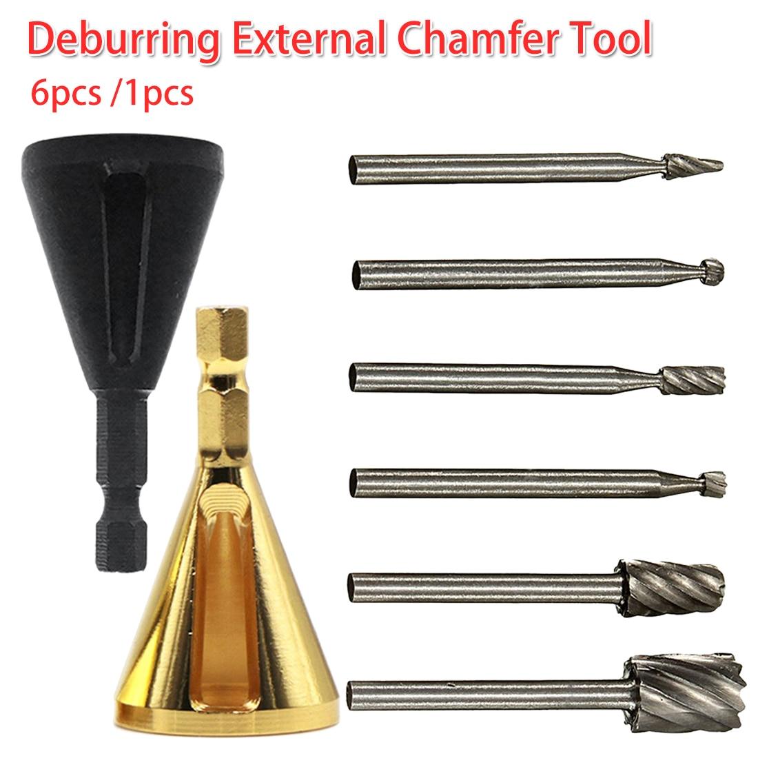 6pcs /1pcs Deburring External Chamfer Tool Bit Hardness Drill Bit Stainless Steel Remove Burr Multifunction Drill Removing Burr
