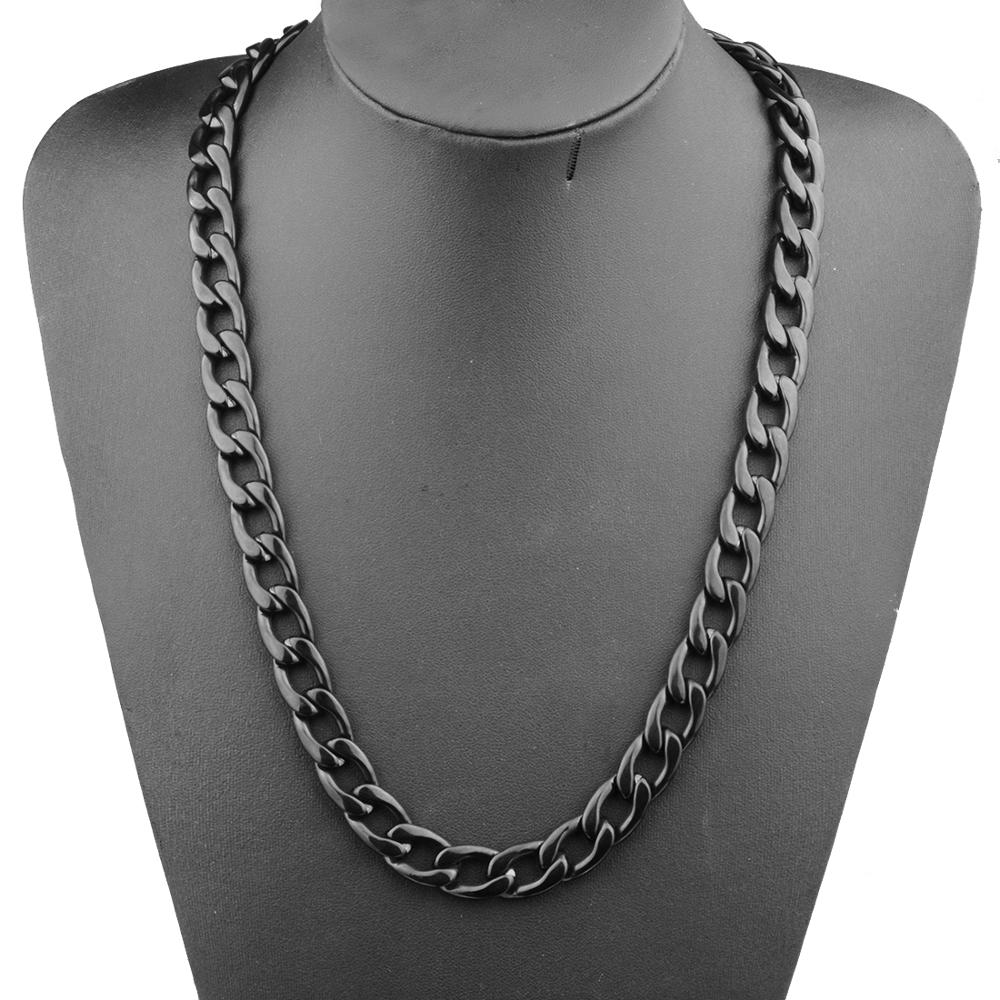 Mens Necklace 316L Stainless Steel Biker Figaro Chain Necklaces for Men Black Wholesale Punk Jewelry 13mm 16 32 inch in Chain Necklaces from Jewelry Accessories