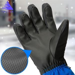 Image 2 - 余分な厚い Pu スキー手袋冬の雪の屋外スポーツレディースメンズウォームスノーモービルモーターサイクル防風防水スノーボード