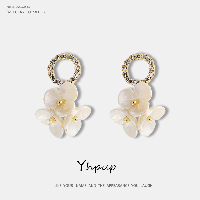 Yhpup Popular Imitation Shell Flower Dangle Earrings Rhinestone High Quality Beauty Korean boucle doreille femme 2019