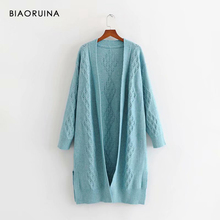 BIAORUINA 3 Color Women's Hollow Out Winding Knit Long Cardigans Female Solid Casual Loose Sweater One Size Women Fashion