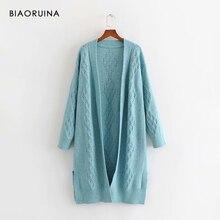 BIAORUINA 3 kolor damski Hallow Out uzwojenia dzianiny długie kardigany kobiet jednokolorowa na co dzień luźny sweter jeden rozmiar moda damska