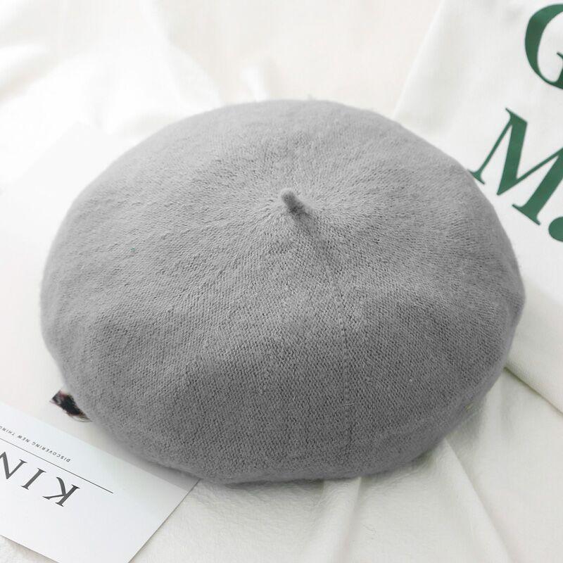 Шерстяные женские Зимние береты, роскошные бархатные винтажные кашемировые женские теплые модные береты, шапки для девушек, плоская кепка, берет для женщин - Цвет: Style 2 Light Grey