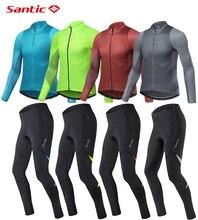 SANTIC Bike Jersey Mens Long Sleeve Cycling Clothing set Sun Protection Autumn Road MTB Top Men Riding Pants 2019