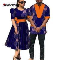 2020 African lovers' clothes african dresses for couples Shirt and Pants Sets Lover Couples Clothes Print Long Dress wyq470
