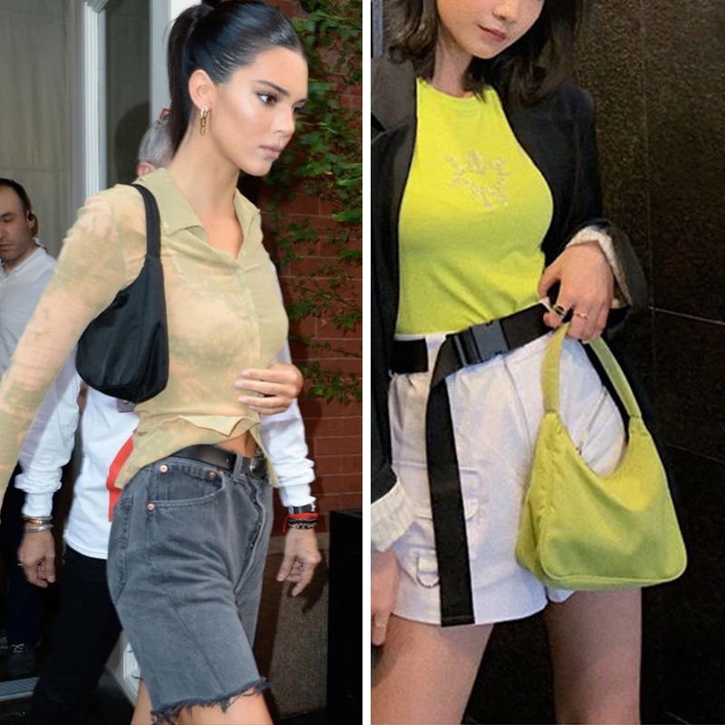 Kendall Jenner Bella Hadid Ins Celebrity Style Classic Simple Baguette Bag Mini Shoulder Bags Retro Fashion Nylon Handbag Women