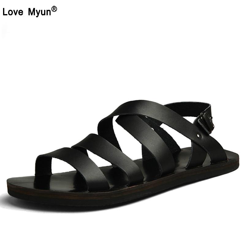Mens Shoes Pig Leather Men Sandals Summer Men Shoes Beach Breathable Buckle Gladiator Sandals For Men Zapatillas Hombre