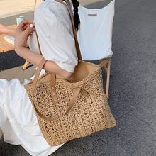 High Capacity Large Summer Beach Straw Bags 2021 Simple Luxury Brand Fashion Travel Ladies Shoulder Handbags Top Handle Totes