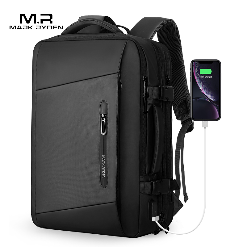 Mark Ryden 17 inch Laptop Backpack Raincoat Male Bag USB Recharging Multi layer Space Travel Male